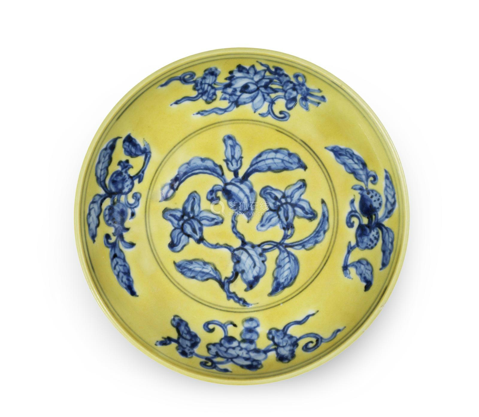 A rare underglaze-blue yellow-ground 'gardenia' saucer dish, Zhengde six-character mark and of the period, from the Cunliffe Collection