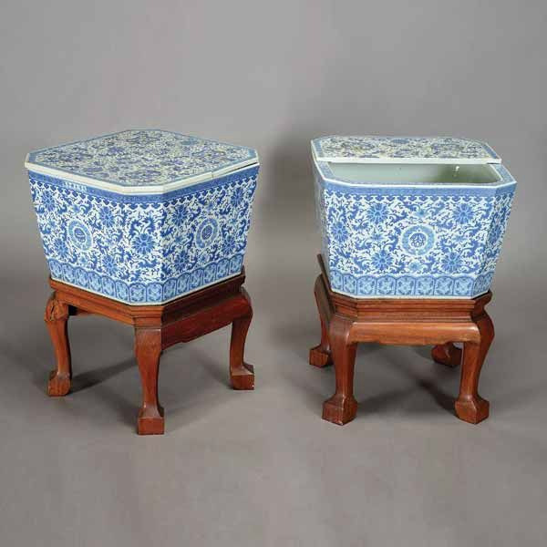 A Pair of Underglaze Blue Lidded Ice Chests, Guangxu Marks and of the Period