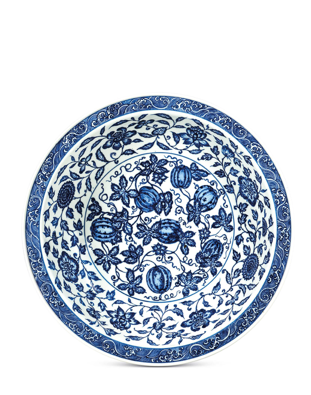 A large Ming-style blue and white 'melon' dish, Yongzheng six character in underglaze blue with a double circle and of the period (1723-1735)