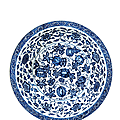A large ming-style blue and white 'melon' dish, yongzheng six character mark and of the period (1723-1735)