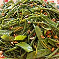 Haricots verts, mangetouts, noisettes & orange