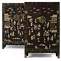 A pair of hardstone-inlaid gilt-lacquer cabinets, qing dynasty, 19th century
