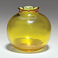 A rare yellow glass pomegranate-form water pot, imperial glassworks, beijing, qianlong mark and of the period (1736-1795)