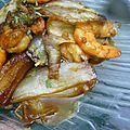 Endives et crevettes caramélisées