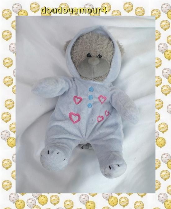 Peluche Doudou Ours Gris Pyjama Bleu Love Coeurs Pluche Party