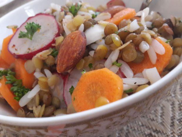 salade croquante riz-lentilles