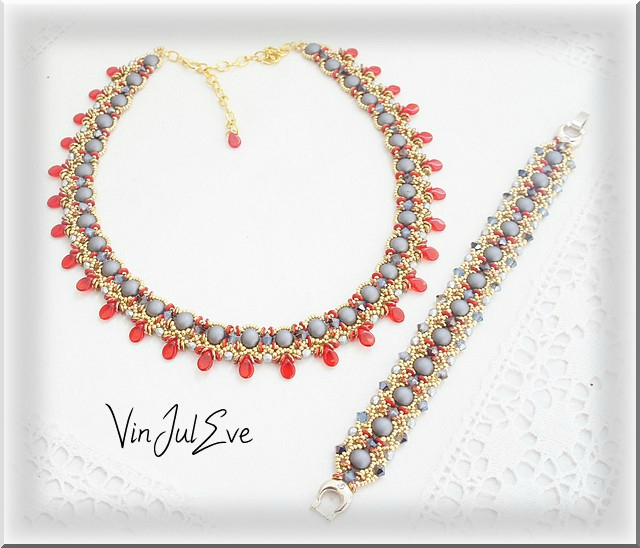 parure Valletta rouge gris or