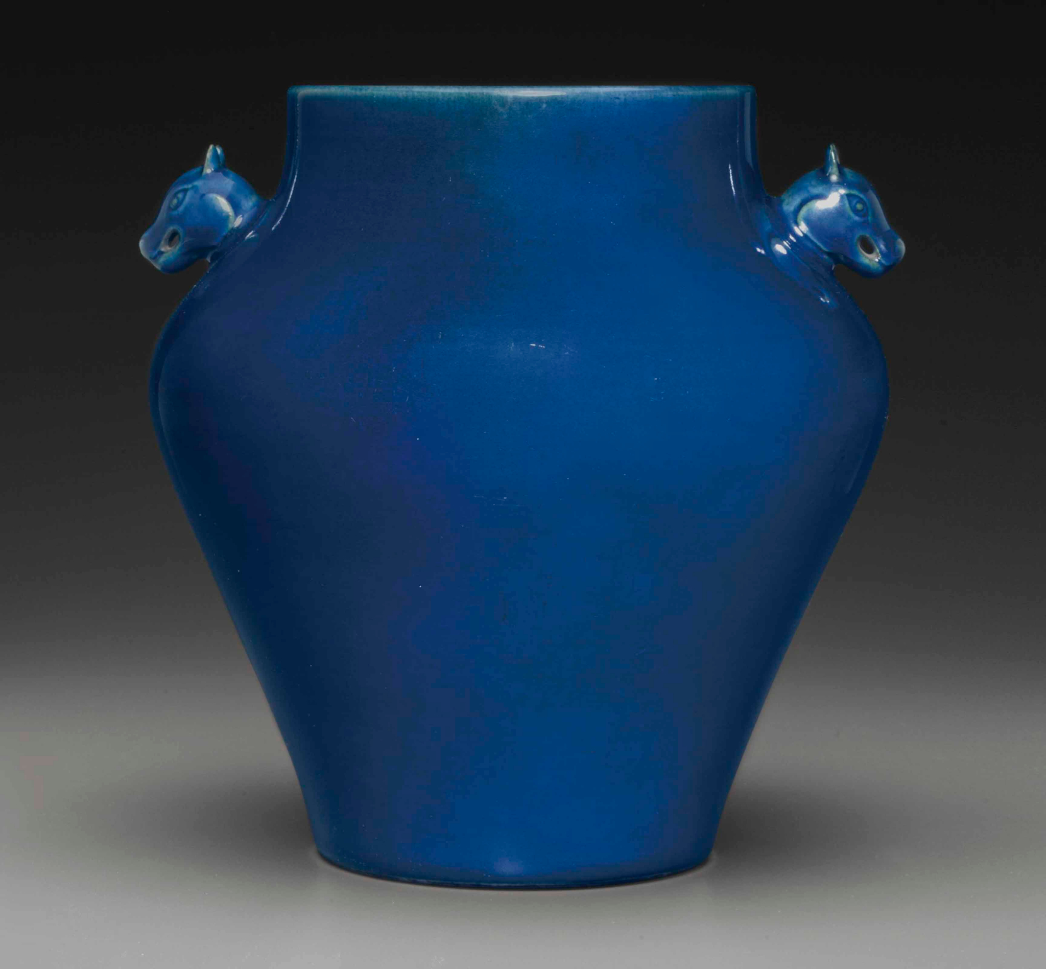 A rare imperial ceremonial blue-glazed jar,zun, Qianlong six-character seal mark and of the period (1736-1795)