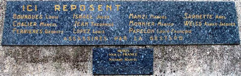 La plaque du monument