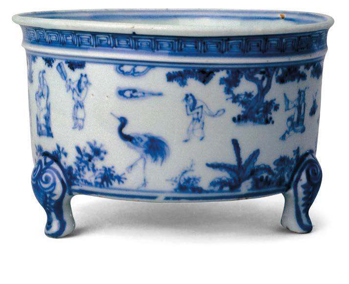 A blue and white 'Daoist figures' censer, Hongzhi period (1488-1505), Collection of the Palace Museum, Beijing.
