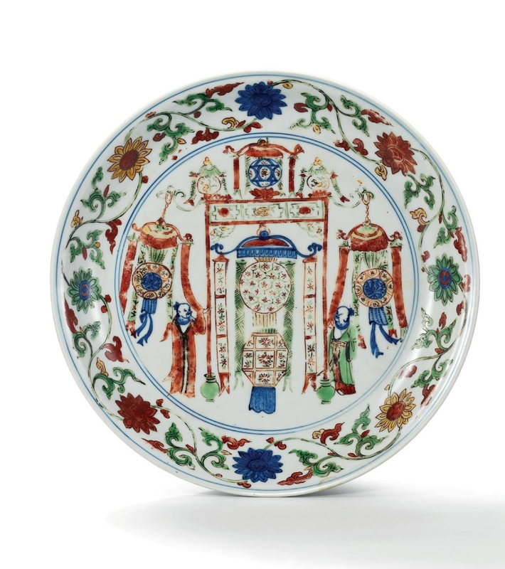 A rare largewucaidish with lanterns and officials, Wanli six-character mark in underglaze blue within a double circle and of the period (1573-1619)