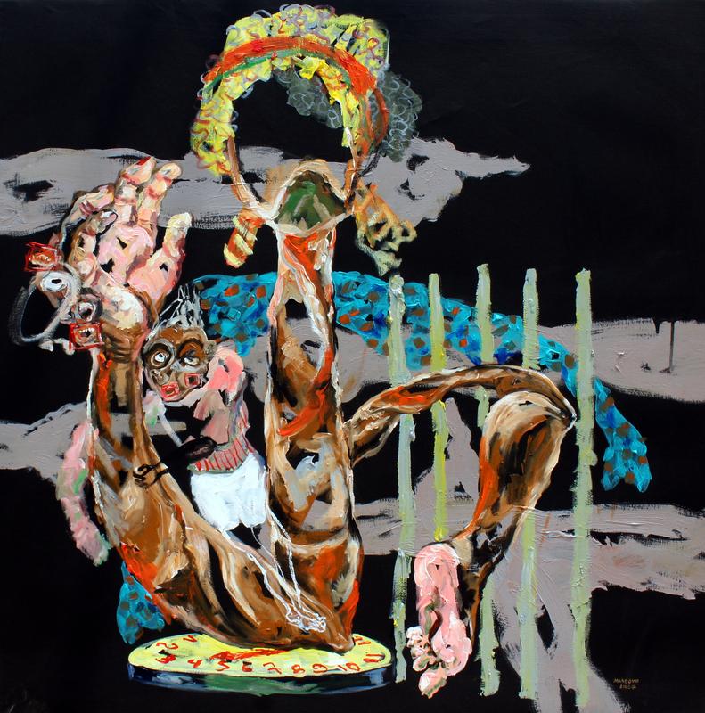 Afecto materno, acrilico sobre tela, 100x100 cm