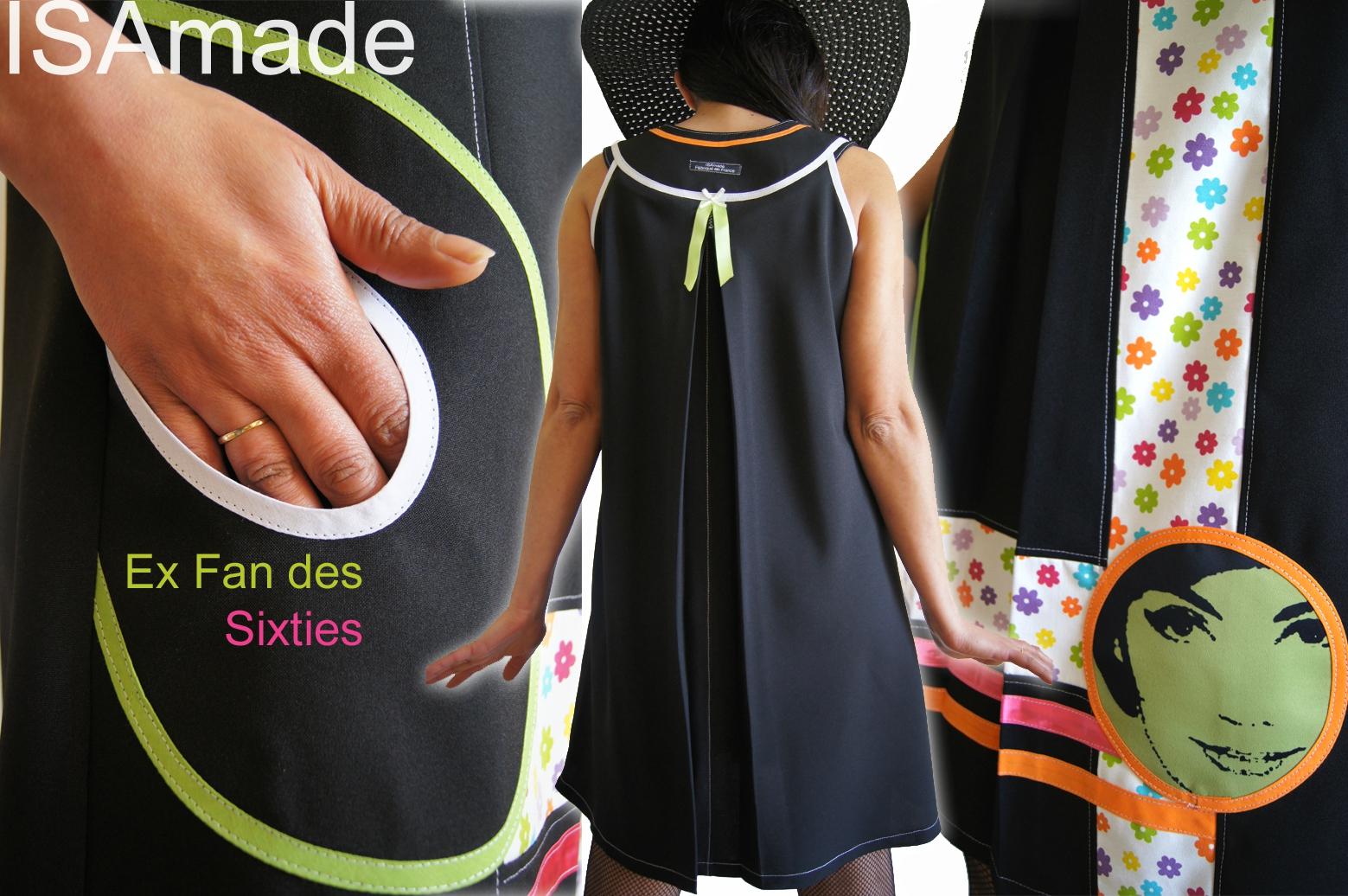 Robe trapèze Graphique Noire/ blanche imprimé fleurs multicolores70's et visage Stylisé