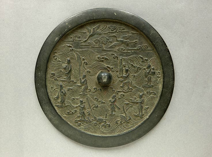 "Bronze Mirror with Design of ""Eight Immortals Giving their Birthday Greetings to Heavenly Queen Mother"" Story, Yuan Dynasty"