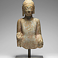 a very rare limestone bust of the buddha, northern qi dynasty (550-577)