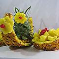 Découpe d'ananas en salade