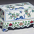 An unusual rectangular doucai box and cover, early 18th century