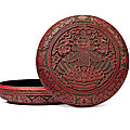 A rare and large three-colour lacquer 'chun' incised gilt box and cover, qianlong six-character mark and of the period