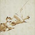Giovanni battista tiepolo (venise 1696 - 1770), figure plafonnante avec un étendard et un vase