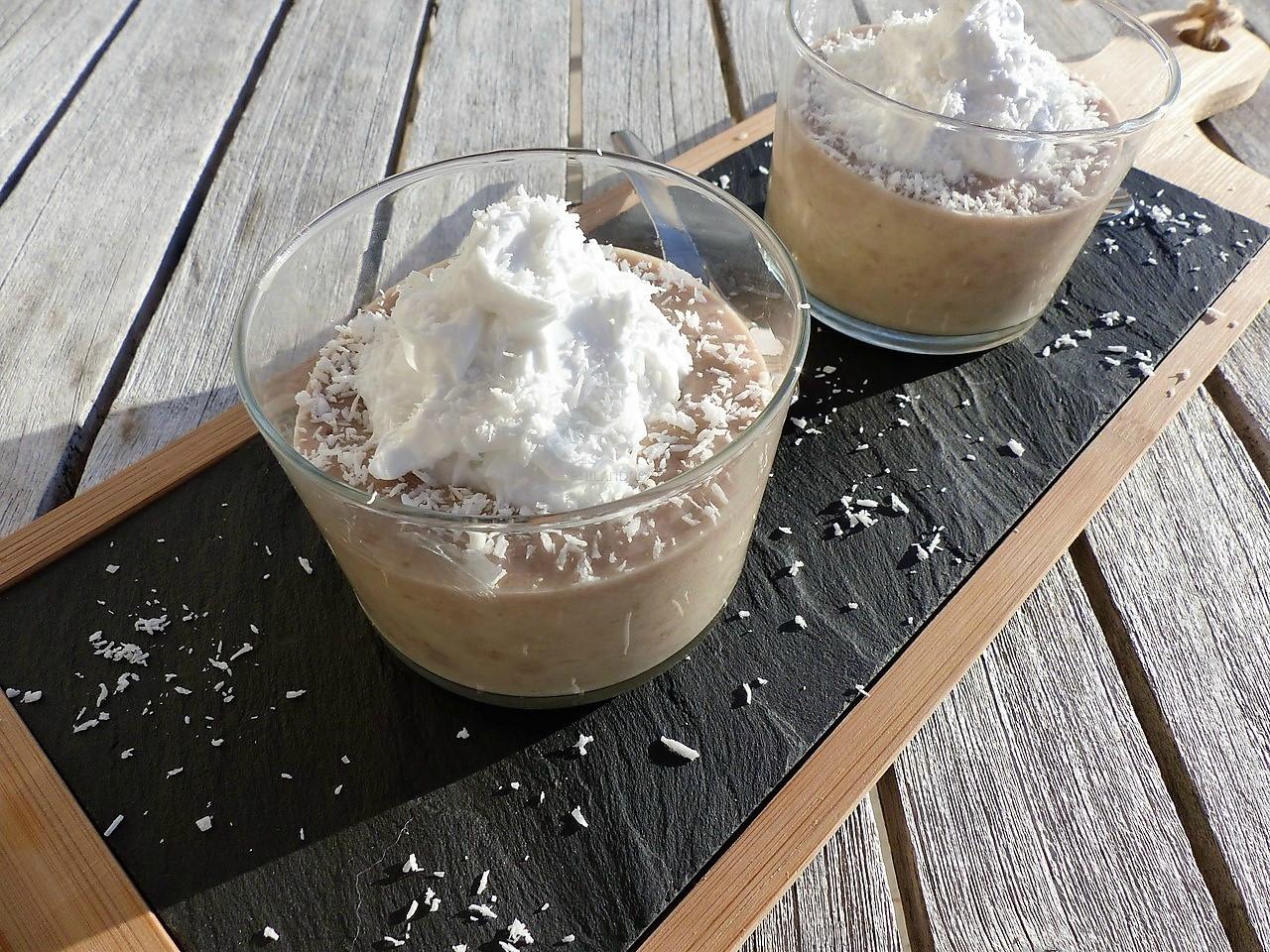 Crème dessert banane-chocolat blanc, chantilly coco