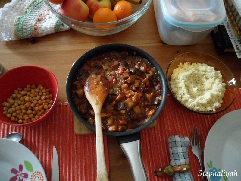 Semoule, aubergines et pois chiches rôtis - 2
