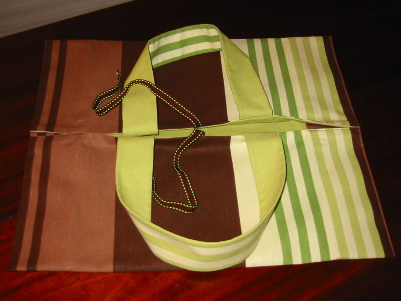 sac à tarte rayé vert et marront
