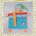 Doudou Peluche Corolle Marionnette Poupée Lutin Peluche Bleu Orange Vert Coeur 2009