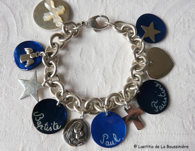 Bracelet personnalisé relooké (sur chaîne plaqué argent ronde)