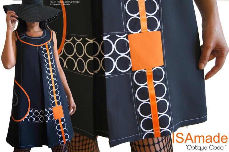 MOD 379C Robe Trapèze Créateur Noir Orange Graphique Couture