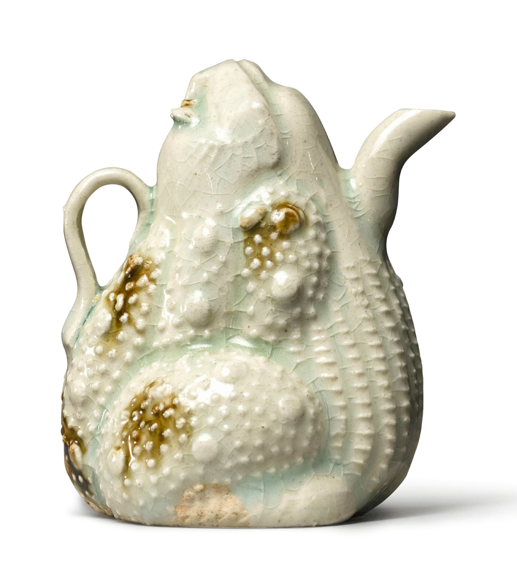 A brown-splashed Qingbai toad-form water dropper, Southern Song-Yuan dynasty