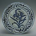 Blue-and-white plate with the design of plants, Xuande period (1426-1435)
