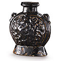 A brown-glazed pilgrim's flask, Tang dynasty (618-906)