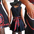 Robe Fantaisie Femme tissu imprimé Tissé Noir Blanc et Carreaux écossais Automne Hiver 2015
