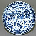 Blue-and-white box with figures in a garden, Ming Dynasty, Wanli Mark and Period (1573 – 1620)