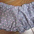 Culotte BIANCA en coton gris à pois rose - Noeud de vichy rose (2)