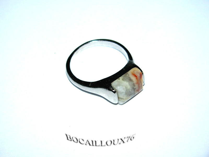 BAGUE CABOCHON AGATE 9 - T58 SUPPORT ARGENTE