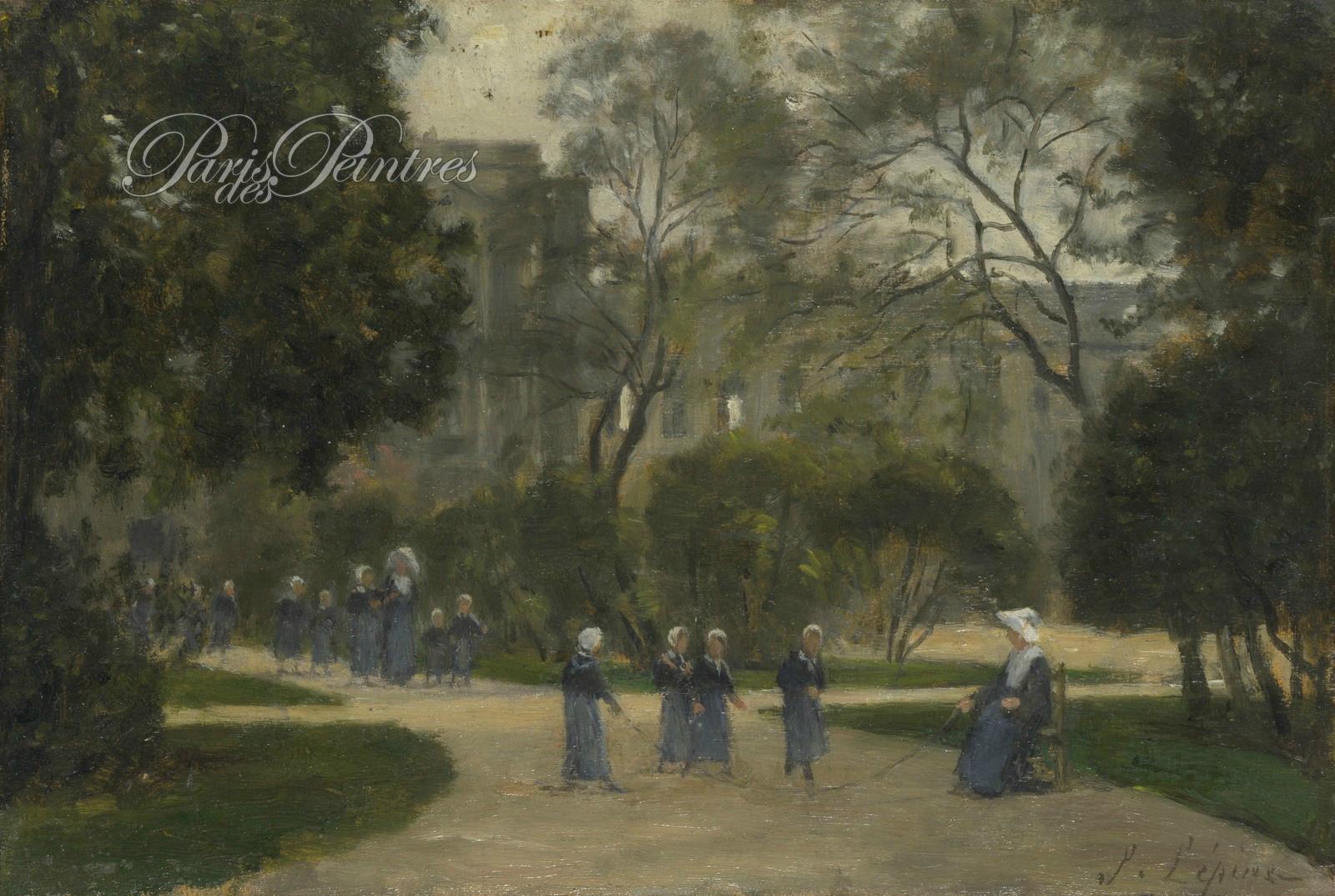 Lépine, soeurs et écolières dans le jardin des Tuileries 1871-1883