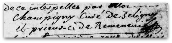 champigny charles signature à Séligné 1786 z