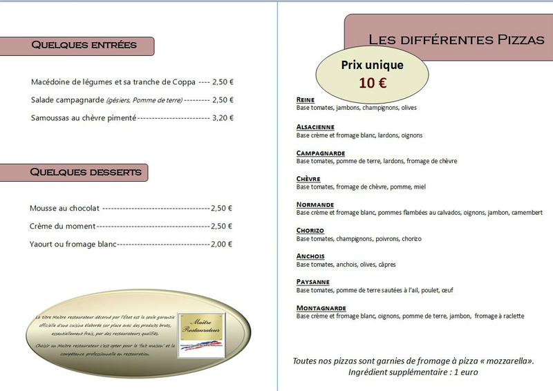 carte pizza adulte