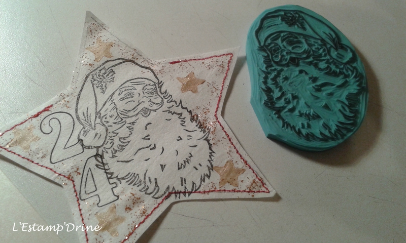 tampon pere noel gravure sur gomme