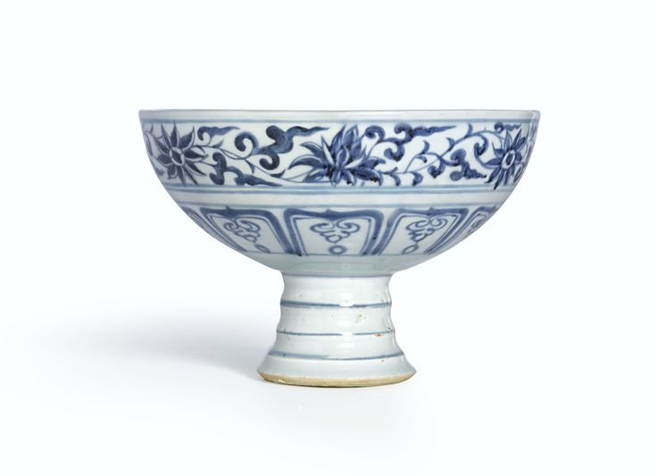 A blue and white 'Mandarin Duck and Lotus' stembowl, Yuan dynasty