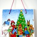 Christmas dog decorative plaque