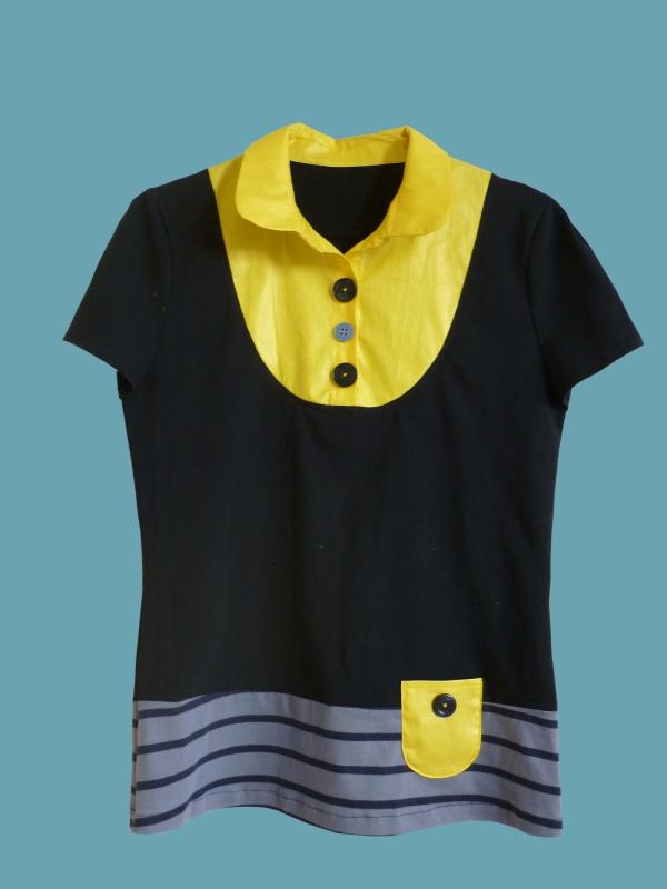 T.shirt chemisier marine et jaune
