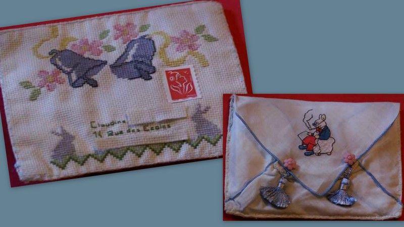 Enveloppe Pâques faites sur un ancien mouchoir d'enfant