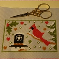 ♥ broderie hiver ; le cardinal (2) ♥