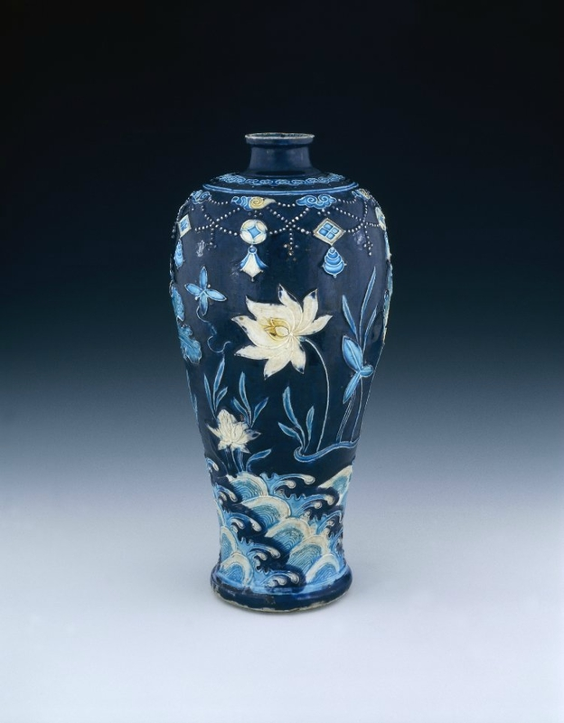 Porcelain meiping with 'fahua'-type decoration and traces of red lacquer, Ming dynasty, circa 1450-1505