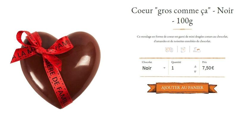 chocolat en forme de coeur à la mère de famille