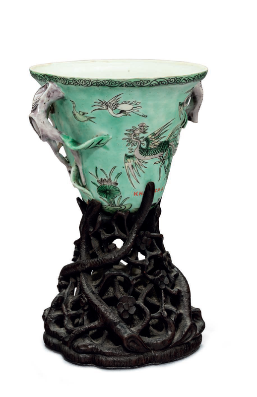 A famille verte biscuit libation cup, China, Kangxi period (1662-1722)
