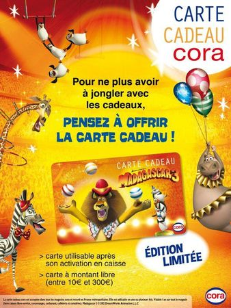 carte cadeau CORA édition limitée Madagscar