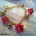 bracelet rose fimo rouge